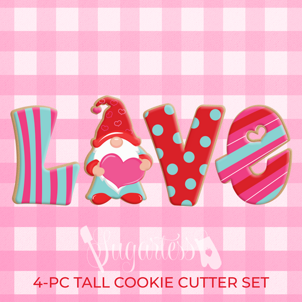 "Sugartess custom cookie cutter set of 4 tall LOVE word with gnome holding a heart for letter ""O"" and letter ""E"" with cutout center heart."