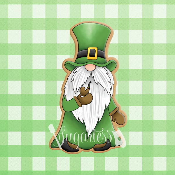 Sugartess custom cookie cutter in shape of gnome leprechaun smoking pipe.