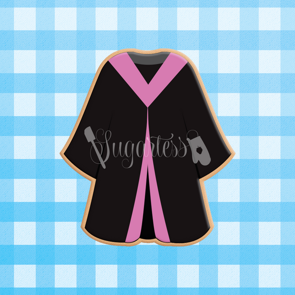 Sugartess custom cookie cutter in shape of graduation gown or grad robe.