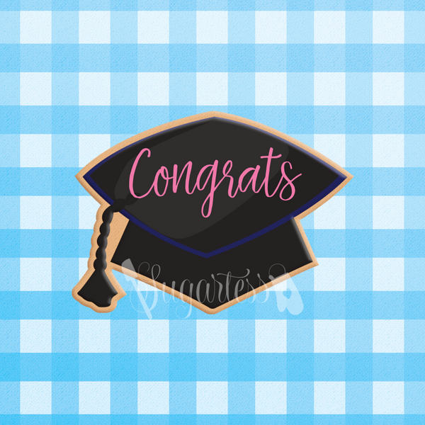 Sugartess custom cookie cutter in shape of graduation cap or grad hat.