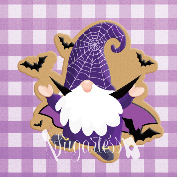 Sugartess custom cookie cutter in shape of a vampire gnome with bats flying around.