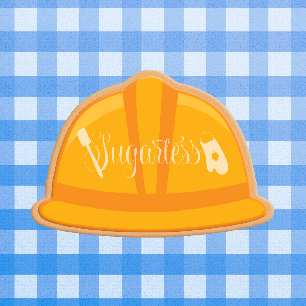 Sugartess custom cookie cutter in shape of contractor safety hard hat, front view.