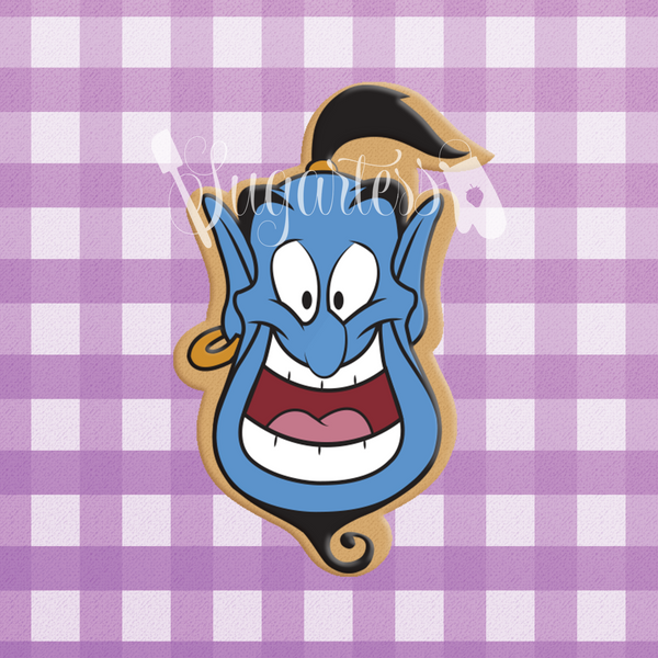 Sugartess custom cookie cutter in shape of Aladdin's Genie head.