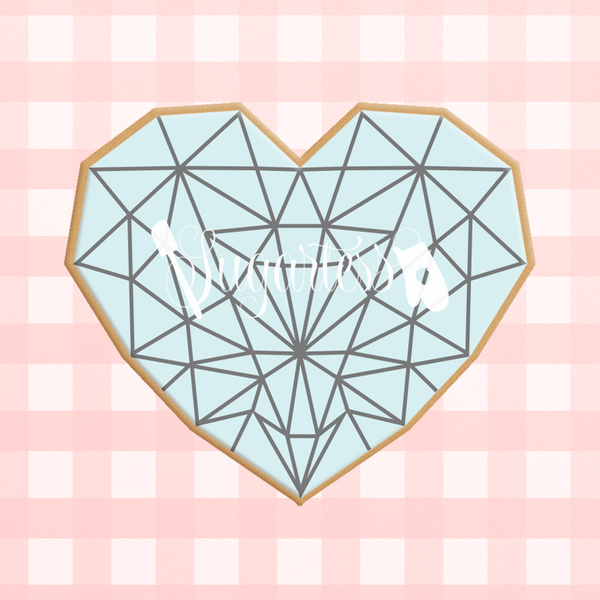 Sugartess custom cookie cutter in shape geometric faceted heart.