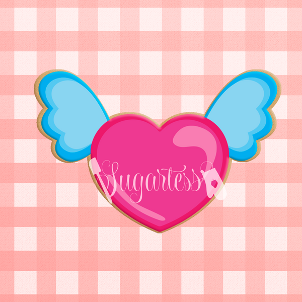 Sugartess custom cookie cutter in shape of chubby heart with wings.