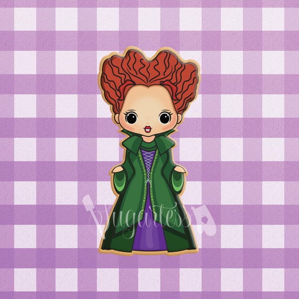 Sugartess custom cookie cutter in shape of Winifred Sanderson - Hocus Pocus Sanderson Sisters Witch