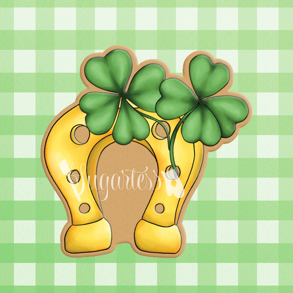 Sugartess custom cookie cutter in shape of horseshoe with shamrocks.