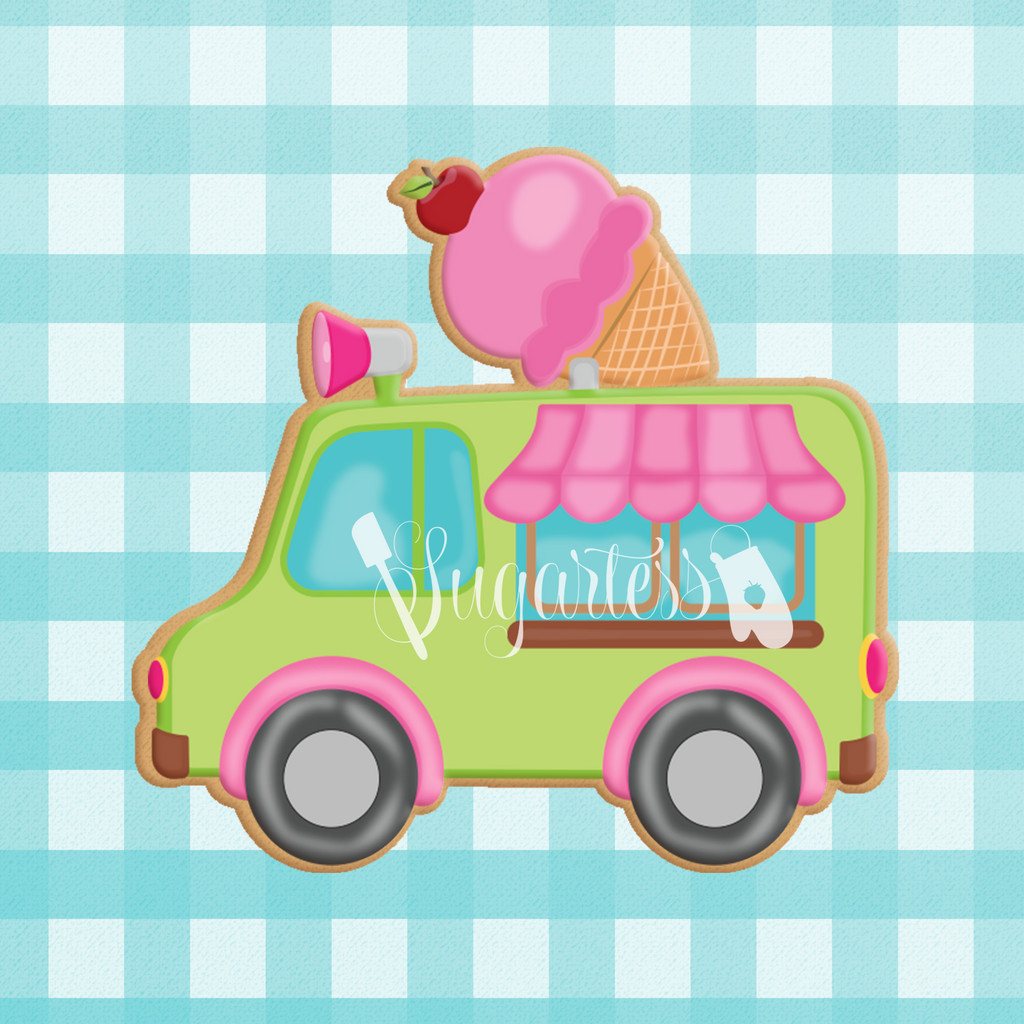 Sugartess custom cookie cutter in shape of Ice Cream Truck with Ice Cream Cone On Top.