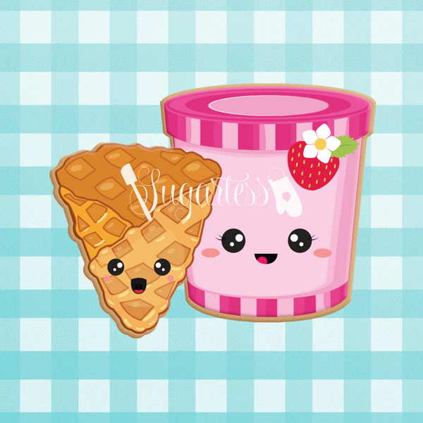 Sugartess custom cookie cutter in shape of kawaii ice cream tub and waffle cone perfect pair.