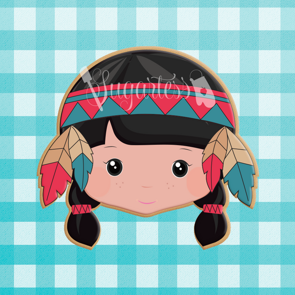 Sugartess custom cookie cutter in shape of Native American Indian Girl Head with Feather Headband and Braids.