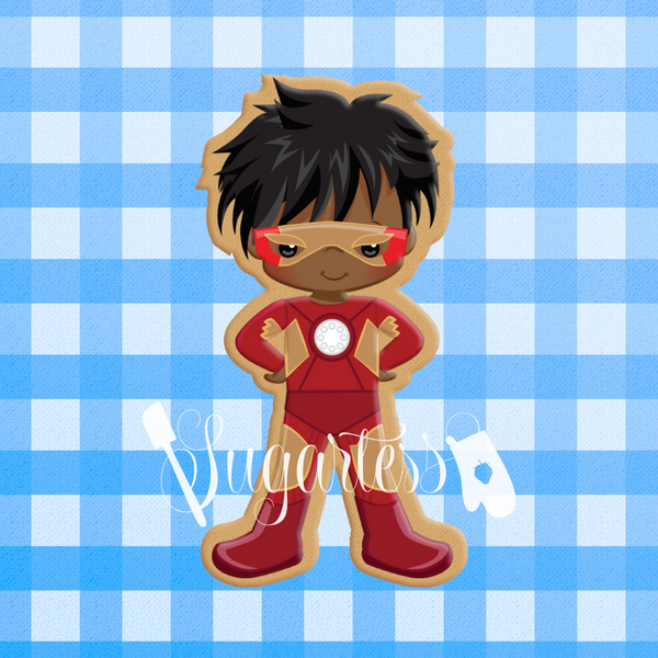 Sugartess custom cookie cutter in shape of African American Iron Boy superhero.