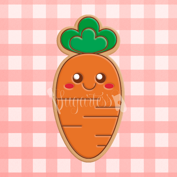 Sugartess cookie cutter in shape of   Kawaii Carrot.. 3D printed from biodegradable  PLA plastic in diferent sizes ranging from 2 to 6 inches.