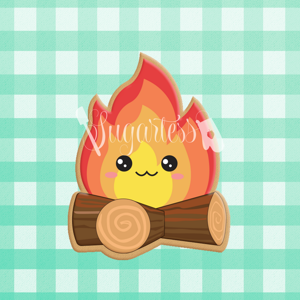 Sugartess custom cookie cutter in shape of kawaii camp fire.