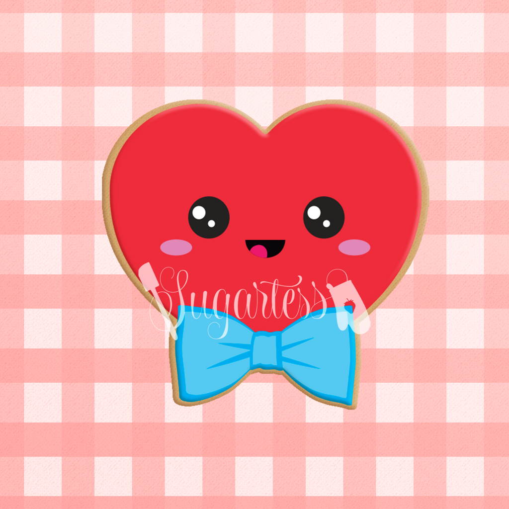 Sugartess custom cookie cutter in shape of kawaii heart with bow tie.