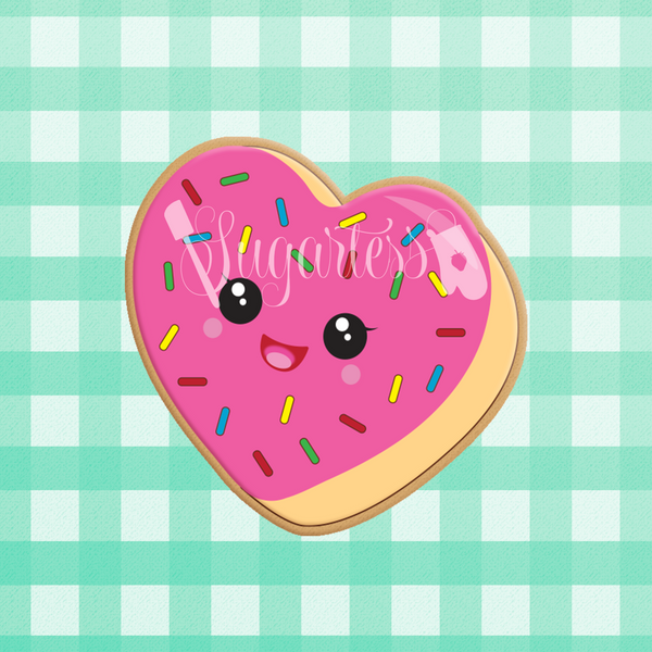 Sugartess custom cookie cutter in shape of kawaii heart-shaped donut with sprinkles.