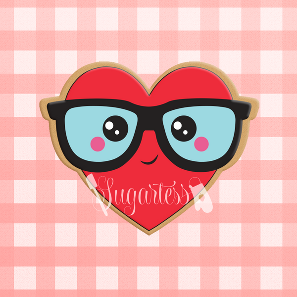 Sugartess custom cookie cutter in shape of kawaii boy heart with glasses.