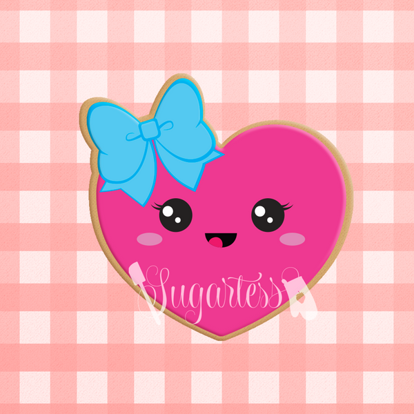 Sugartess custom cookie cutter in shape of kawaii heart with head bow.