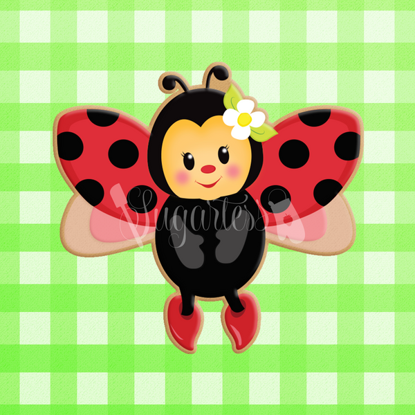 Sugartess custom cookie cutter in shape of ladybug in flight - front view.