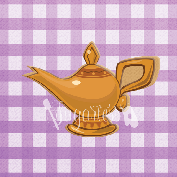 Sugartess custom cookie cutter in shape of Aladdin's magic lamp.