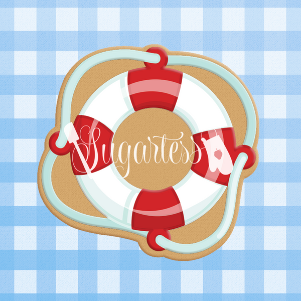Sugartess custom cookie cutter in shape of a nautical life saver.