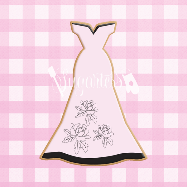 Sugartess custom cookie cutter in shape of long strapless dress.