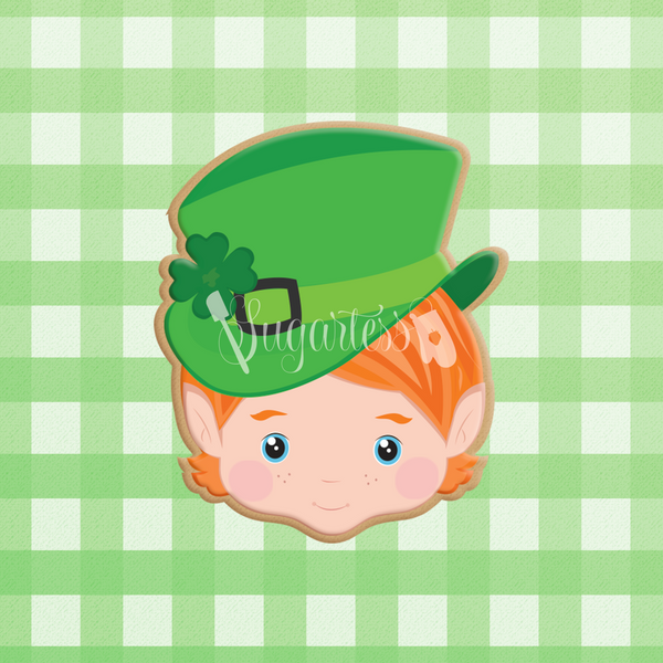 Sugartess custom cookie cutter in shape of a St. Patrick's elf or leprechaun head with hat.
