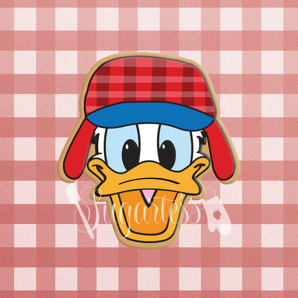 Sugartess custom cookie cutter in shape of lumberjack duck head with flapper hat.