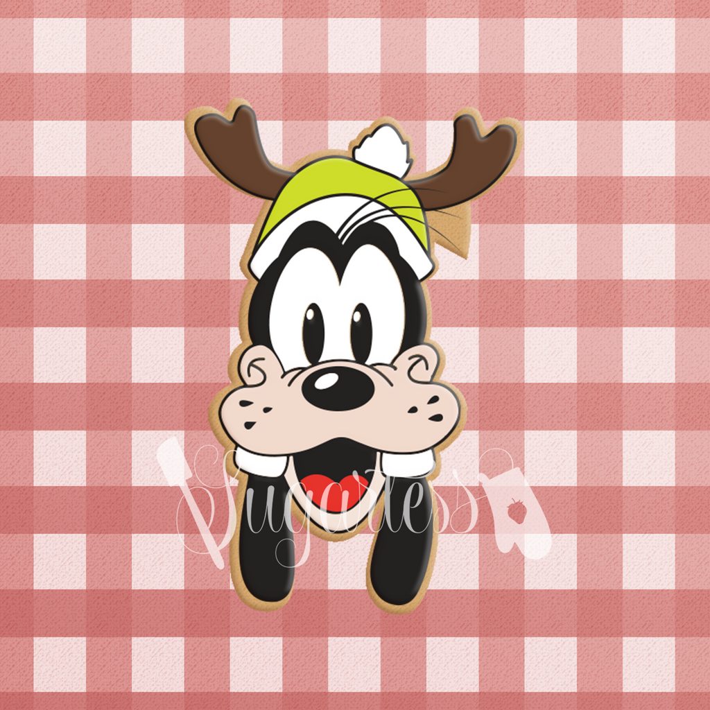 Sugartess custom cookie cutter in shape of lumberjack Goofy head with antler hat.