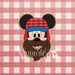 Sugartess custom cookie cutter in shape of lumberjack mouse head with flapper hat and beard.