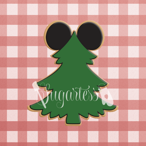 Sugartess custom cookie cutter in shape of woodland lumberjack pine tree with mouse ears.