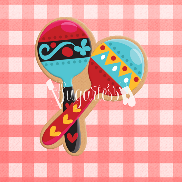 Sugartess custom cookie cutter in shape of two Mexican maracas.