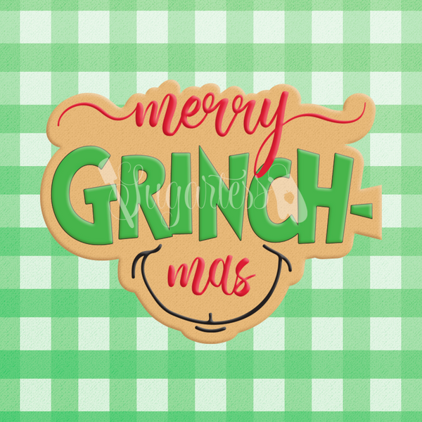 Sugartess custom Christmas cookie cutter in shape of  word plaque: Merry Grinch-mas