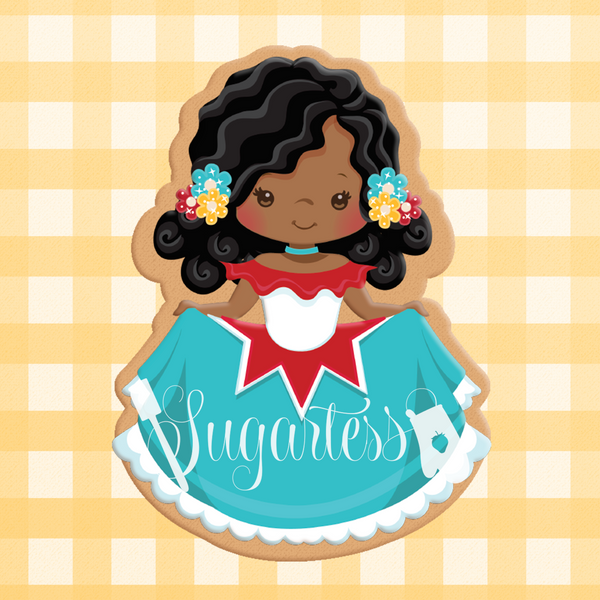 Sugartess custom cookie cutter in shape of traditional Mexican girl #2.