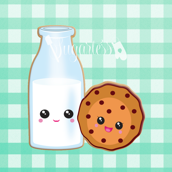 Sugartess custom cookie cutter in shape of kawaii milk bottle and cookie.