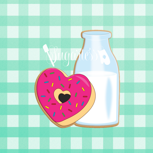 Sugartess custom cookie cutter in shape of milk bottle and heart donut perfect pair.