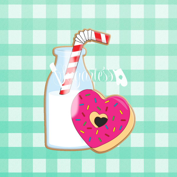 Milk Bottle with Straw and Heart Donut Perfect Pair