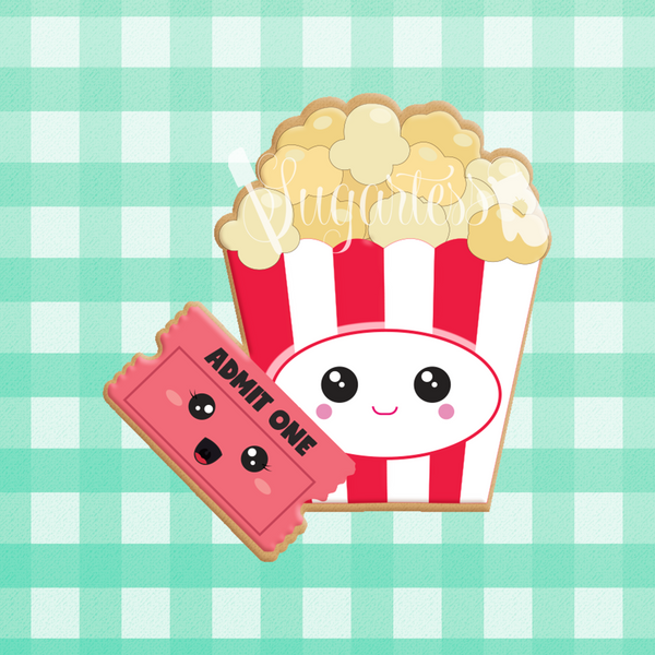 Sugartess custom cookie cutter in shape of kawaii movie ticket and popcorn perfect pair.