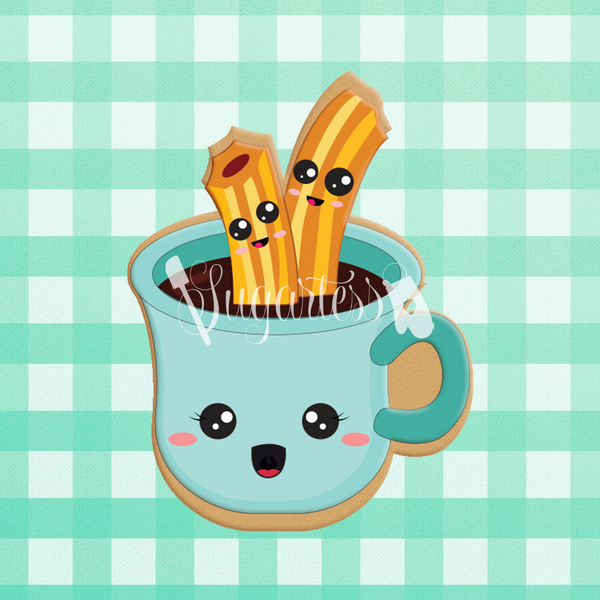 Sugartess custom cookie cutter in shape of kawaii cup coffee or hot chocolate with churros perfect pair
