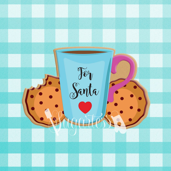 Sugartess custom cookie cutter in shape of cup of coffee or hot chocolate with cookie on the side for Santa.