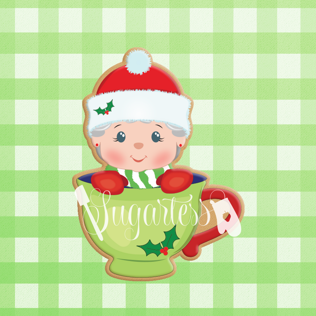 Sugartess cookie cutter in shape of    Peek-a-Boo Mrs. Santa Claus in Mug Cookie Cutter . 3D printed from biodegradable PLA plastic in diferent sizes ranging from 2 to 6 inches.