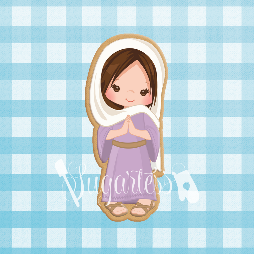 Sugartess cookie cutter in shape of    Nativity Virgin Mary. 3D printed from biodegradable PLA  plastic in diferent sizes ranging from 2 to 6 inches.