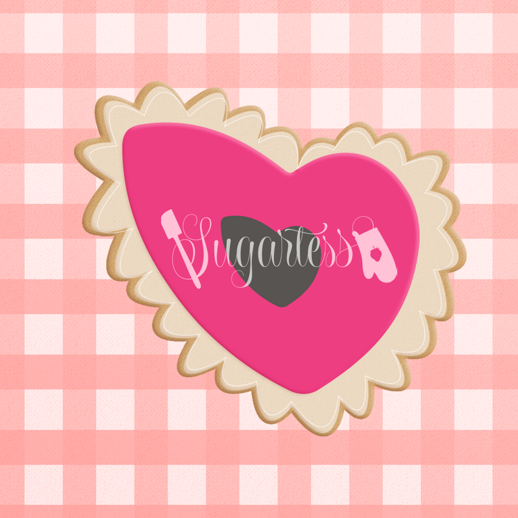 Sugartess custom cookie cutter in shape of Valentine's scalloped organic heart with cut-out center.