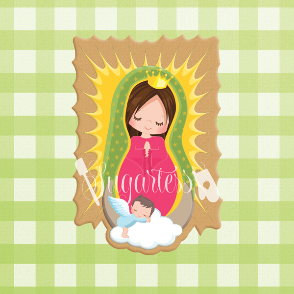 Sugartess cookie cutter in shape of  our Lady of Guadalupe. 3D printed from biodegradable  PLA plastic in diferent sizes ranging from 2 to 6 inches.