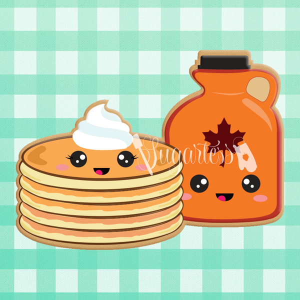 Sugartess custom cookie cutter in shape of kawaii stack of pancakes and bottle of syrup perfect pair.