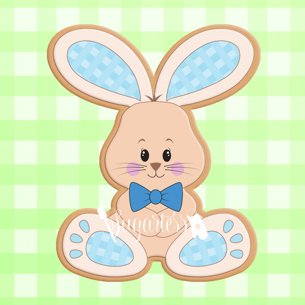 Sugartess cookie cutter in shape of   Plush Gingham Bunny Boy. 3D printed from biodegradable  PLA plastic in diferent sizes ranging from 2 to 6 inches.