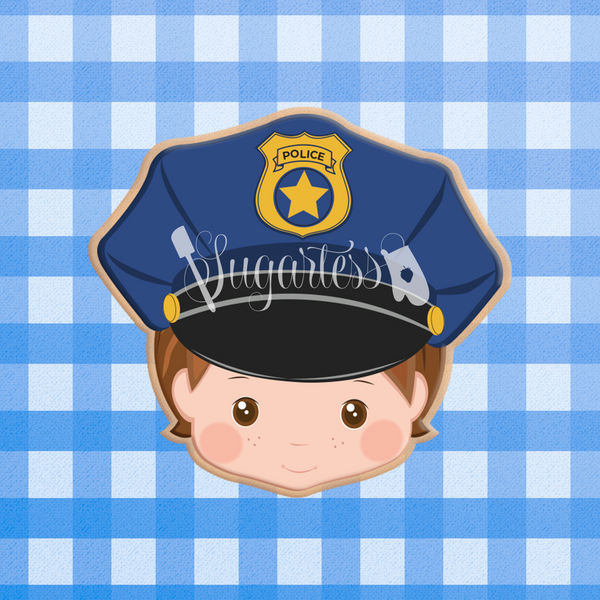 Sugartess custom cookie cutter in shape of police officer head with hat.