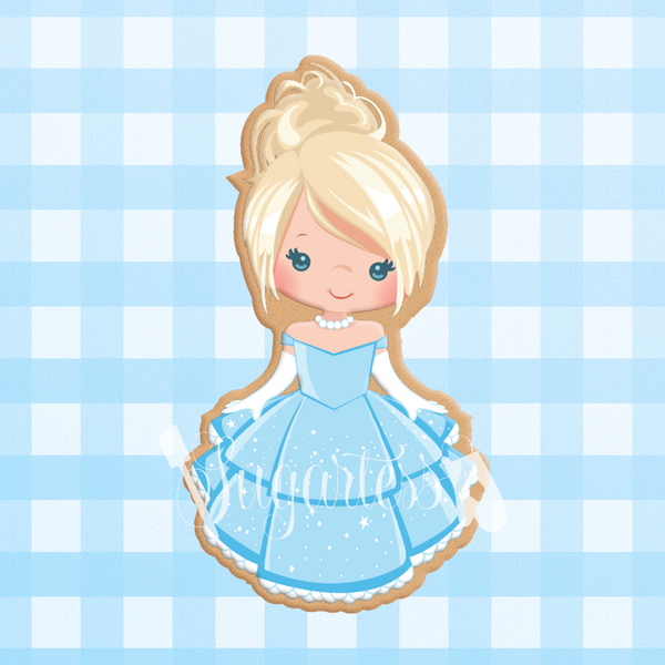 Sugartess custom cookie cutter in shape of Princess Cinderella.
