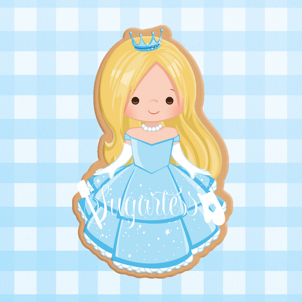 Sugartess cookie cutter in shape of   Princess Cinderella. 3D printed from biodegradable  PLA plastic in diferent sizes ranging from 2 to 6 inches.