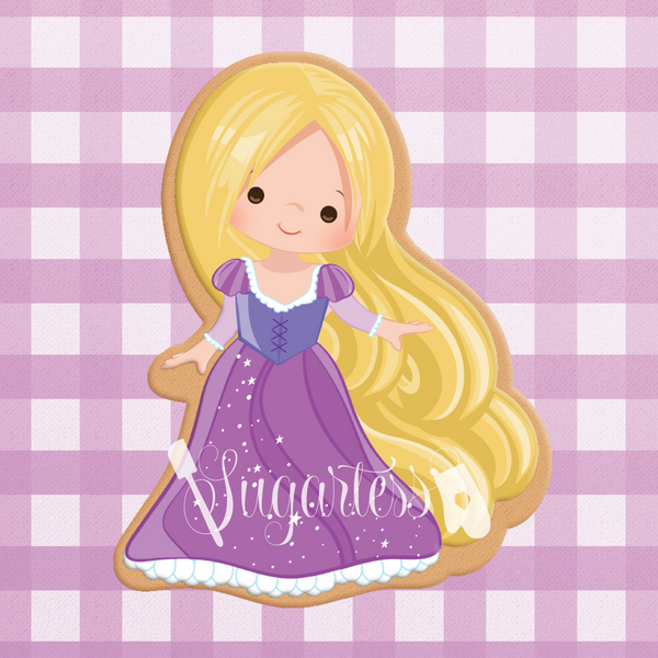 Sugartess cookie cutter in shape of   Princess Rapunzel 3D printed from biodegradable  PLA plastic in diferent sizes ranging from 2 to 6 inches.