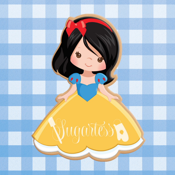 Sugartess custom cookie cutter in shape of Princess Snow White.
